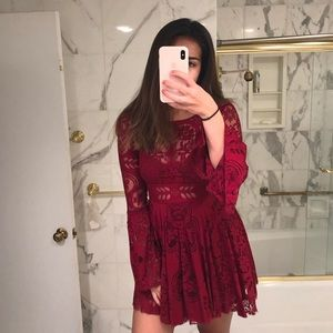 Red Lace Free People Dress size 2